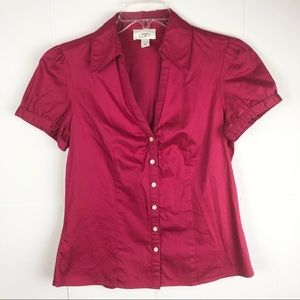 Loft Hot Pink Button Down Short Sleeve Blouse M